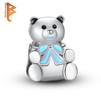 Wholesale Bead Teddy Wholesale - BELAWANG For Women Jewelry Teddy Bear Charm Beads Silver Plated Big Hole Beads Fit Charm Bracelets&Bangles DIY Jewelry Making Free Shipping