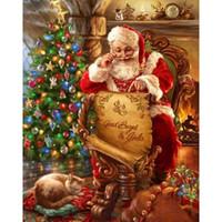 Wholesale Black Santa Ornaments - Santa Claus Christmas Tree 5D DIY Mosaic Needlework Diamond Painting Embroidery Cross Stitch Craft Kit Wall Home Hanging Decor