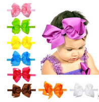 Wholesale Christmas Grosgrain Ribbons - wholesale 6inch big large boutique hair bow Grosgrain Ribbon Bows Baby headband Baby girl christmas Hair Accessories 20pcs lot