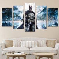 Wholesale Group Canvas Painting Framed - 5Pcs HD Printed Batman Movie Poster Group Painting Canvas Print room decor print poster picture canvas Free shipping