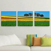 3 pannelli HD Prato Verde Paesaggio Quadro Decor foto Quadro Wall Art Picture Digital Stampa artistica Immagine dipinta tele per Living Space Dropship