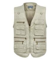 Wholesale Sleevless Jackets - Wholesale- Fashion Cotton Vests Men 3XL 4XL 5XL Vest Mens Outdoors Cotton Multi Pocket Sleevless Jacket Man Casual Tops Autumn waistcoat
