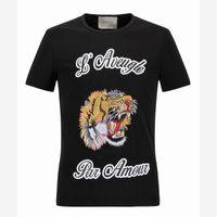 Wholesale Tee Shirt Collar Design - NEW T-Shirt Men Shortsleeve Cotton Jersery Tee Men's Brand Design Printed Tiger Bird Snake Crew Collar Casual Tops Male