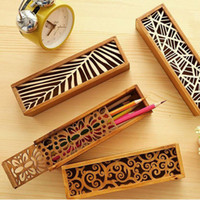 Wholesale Wooden Jewelry Boxes Drawers - Vintage Style Convenient Hollow Wood Pencil Case Jewelry Storage Box Wooden Organizer Drawer Pen Holder School Gift ZA1745