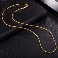 Wholesale Men Necklace 1mm - New Fashion Europe and America Trendy 18K Yellow Gold Platinum Plated 1MM 445MM Chain Necklaces for Men Women for Wedding Party NL-136