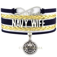 Wholesale united forces - Custom-Infinity Love Navy Wife Army Mom Bracelet United States Marine Corps Air Force Charm Wrap Braided Adjustable Bracelet-Drop Shipping