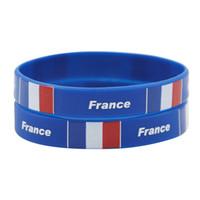 Wholesale Day White Gel - 50pcs French National Flag Design Bracelets France Football World Cup 100% Silicone Gym Fitness Gel Wristband Travel Bracelets