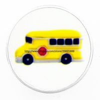 Wholesale Bus Slides - fashion The yellow school bus 18 mm glass print ginger snap button jewelry luxurious alloy bottom fit 18 mm snaps bracelets best gifts
