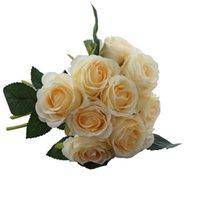 Shop wholesale artificial flower brooch uk wholesale artificial artificial rose silk flower 10 heads bridal brooch bouquet flower for handy wedding decorative fake flowers mightylinksfo