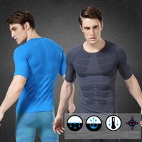 Wholesale Newest men body shaper men tummy slimming Quickly dry compression shirt base layer Short sleeve T shirt Fitness training Running Skin tight