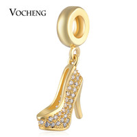 Wholesale Metal Charms Pendants Heels - High-heeled Shoes Charms Beads Pendant with CZ Stone Brass Material Gold and Platinum Plated Vn-1734