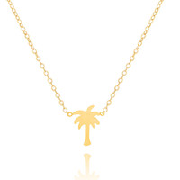 Wholesale Tattoo Pendant Gold - Wholesale-DIANSHANGKAITUOZHE Colier Femme 2016 Fashion Jewelry Bijoux Tattoo Choker Stainless Steel Chains Gold Silver Palm Tree Necklaces