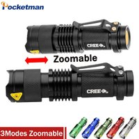 Wholesale Cree Q5 Led Zoomable - High-quality Mini LED Flashlight CREE Q5 2000LM Powerful Flashlight LED Laterna 3Modes Zoomable Portable 6Colors Torch
