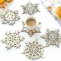 Wholesale Wood Placemats - Snowflake Wood Mug Coasters Drink Tea Cup Mat Vintage Dinner Placemats For Table Decorations Great Gifts ZA4977