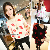Wholesale Korean Stamps Wholesale - Wholesale- 2016 Spring Autumn Fashion Korean cute loose sweater sexy lips stamp printed mohair sweaters warm pullovers