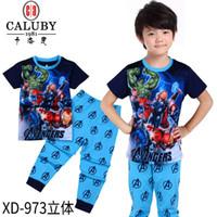 Wholesale Wholesale Childrens Pyjamas - boys avengers pajamas kids cotton pyjamas childrens cartoon sleepwear sets kids summer night suit printed sleeping wear XD-936