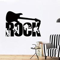 vinil müzik duvar dekor toptan satış-Kaya Gitar Müzik Grubu Stüdyo Boys Duvar Sanat Etiketler Çıkartmaları Vinil Ev Odası Dekor Mural DIY