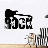 ingrosso arte della parete della musica-Rock Guitar Music Band Studio Ragazzi Wall Art Stickers Decalcomanie Vinile Home Room Decor Murale DIY