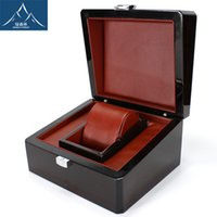 Wholesale Spray Paint Jewelry - Luxury Brand Wood Box for Watch certificate Top Gift Jewelry Bracelet Bangle Boxes Display Black Spray paint Storage Case Pillow