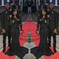 ingrosso abiti da sposa in champagne bling nero-Bling Mermaid Black Girls Paillettes Prom Dress Sexy sudafricane maniche lunghe abito da sera formale di laurea Plus Size Custom Made