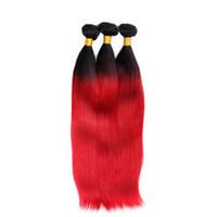 kırmızı düz insan saç uzantıları toptan satış-Brezilyalı İnsan Saç Örgüleri Ombre Kırmızı Düz 4 adet / grup Uglam 2017 Yeni Varış Demetleri Brezilyalı Saç Uzatma Fabrika Fiyat Hızlı Kargo