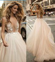 Wholesale Dress V Neck Luxury - Boho 2017 Summer Beach Berta Bridal Gowns Sexy Deep V Neck Backless Wedding Dresses Luxury Crystal Beading Formal Gowns