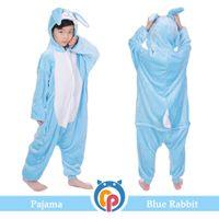 Wholesale pajamas teenage - Animal warm flannel children lovely blue rabbit pajamas onesie cosplay onesie pajamas