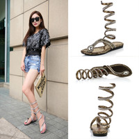 New Fashion Women Wrap Around Flat Sandals Lace-Up Crystal Rhinestone Thong Casual Roman Gladiator Roman Style Été Sandales plates C56Q