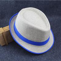 Wholesale British Top Hat Black - British Style Unisex Canvas men women Hats Fedora Trilby Hats Beach Sun Hat Jazz Caps AD-17