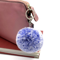weiße pelzbälle schlüsselanhänger großhandel-5 farben / los Faux Kaninchenfell Schlüsselanhänger Größe 8 cm Fluffy Keychain Frost Weiß Pompom Ball Schlüsselanhänger Für Frauen Mädchen