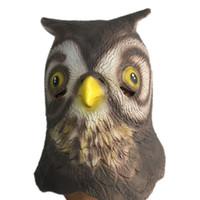 ingrosso maschera di gufo del gufo-Cute Gufo Maschera di lattice Testa piena Halloween Animal Bird Minerva Maschere di gomma Masquerade Cosplay Costume Party Puntelli Formato adulto