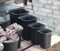 outdoor flowers - 4 size option square nursery plastic flower pot for indoor home desk bedside or floor and outdoor yard lawn or garden planting