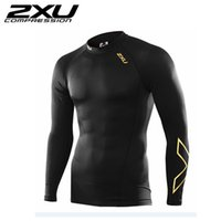 Polyester black compression shirt - 2XU T shirt new men women fitness clothing breathable quick drying fitness high quality compression long sleeves