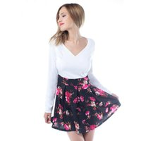 Wholesale office gowns - 2017 Summer Dresses Floral Casual Stylish Elegant Print Charming Women V Neck Sleeveless Zipper Work Office Expansion Dress