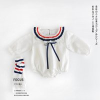 Wholesale Infant Long Sleeve Striped Romper - 2017 Infant Girl Romper without Socks Toddler Kids Long Sleeves Striped Soft Cotton Jumpsuit Fashion Baby Infant Clothes