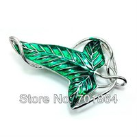 Wholesale Evenstar Gold - Wholesale- Fashion Jewelry The Lord of Elven Brooch Fellowship Green Leaf Pins Hobbit Vintage Evenstar Accessory