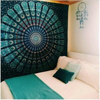 Wholesale Peacock Wall Hangings - 82*59 Inch Bohemian Mandala Tapestry Peacock Yoga Mat Wall Decorative Hanging Tapestries Beach Towel Tassel Throw Rug Blanket Gift