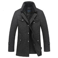 Wholesale Overcoat Wool Coat Mens Winter - Winter Wool Coat Men Thick Warm Jacket Mens Fashion palto Male Casual Jackets Overcoat Woolen Pea Coats Plus Size 3XL XXXXL