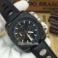 Wholesale chronograph watch cheap - Hot Sell 6 Color Brand Luxury Cheap New Black Dial Quartz Chronograph Mens Watch PVD Black Leather Strap High Quality Gents Watches