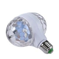 Wholesale Led Disco Ball Light E27 - Double Head LED Stage Lights RGB Crystal Ball Rotating Lights 6 Leds E27 3W KTV Bar Disco Party Decora Lamp