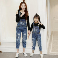 Wholesale Suspender Trousers Jeans - Mother and dauther jeans fashion girls hole suspender denim pants womens all-match cowboy trouser 2017 new family autumn clothing T4942