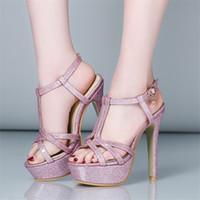 Wholesale Sandals 33 - Sandals PU Woman's shoes Big 45 46 47 Small 31 32 33 High Heel 13CM Platform 3.5CM EUR Size 30-48