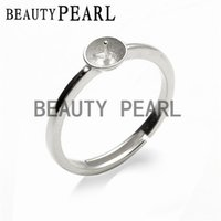 Wholesale Pearl Mounting Jewelry - 5 Pieces Simple Ring Jewelry Findings Sterling Silver 925 Stamped for DIY Making Pearl Ring Mount