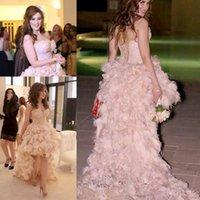 High Low Sweetheart Prom Dresses Long Com Penas Beads Lace Up Costas Sexy Celebrity Vestidos de Noiva Vestido de Noiva Vestido