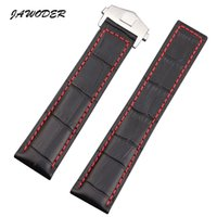 Wholesale Watch Leather Strap 22mm - JAWODER Watchband 19 20 22mm Black Brown Crocodile Lines Genuine Leather Watch Band Strap Stainless Steel Deployment Buckle for TAG