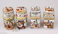 Atacado- Atacado 4pcs Chinesa Classe Beauties Porcelana Jóias / Toothpick Holder Gift Box
