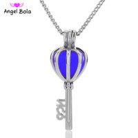 Wholesale Brass Heart Keys - 5 lot key pearl cage Wholesale pendant locket cages Pendants DIY Pearl Necklace for women charm pendants