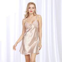 Wholesale Women Sleepwear Dress For Summer - Ladies Sexy Silk Satin Night Dress Sleeveless Nighties V-neck Nightgown Plus Size Nightdress Summer Sleepwear Nightwear For Women