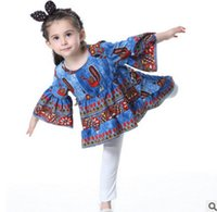 Wholesale Wholesale Peacock Print Dress - Girls dresses INS kids peacock printed princess party dress national style girls floral printed flare sleeve dress kids clothing T0191