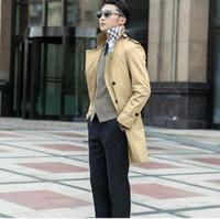 sexy trench long achat en gros de-Printemps 2017 affaires mince sexy long trench-coat hommes mode britannique à double boutonnage mens trench coat pardessus, plus la taille 8XL 9XL
